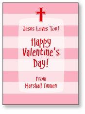 Stripes with Cross Personalized Valentine