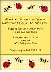 Summer Bugs Yellow Gingham Invitation
