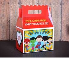 Super Heroes Batman, Spiderman, Superman, Wonder Woman<br>Valentine's Day Treat Box