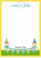 Sweet Babies First Birthday Twin Boys Thank You Note Card