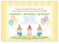 Sweet Babies on Stripes G&B Triplets Birthday Invitation