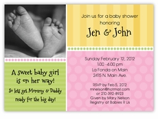 Sweet Feet Girl Baby Shower Invitation