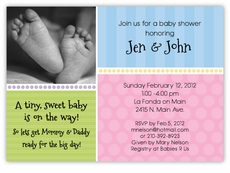 Custom baby shower invitations themed invites amys card creations sweet feet photo gender neutral baby shower invitation filmwisefo