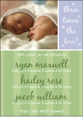 Sweet Joy B&G Triplet Birth Announcement