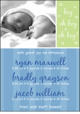 Sweet Joy Boy Triplet Birth Announcement
