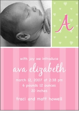 Sweet Joy Girl Photo Birth Announcement