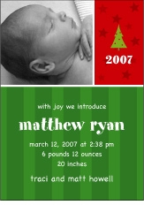 Sweet Joy Photo Christmas Birth Announcement