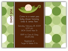 Sweet Pea in a Pod Boy Baby Shower Invitation