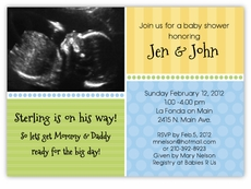 Sweet Sonogram Photo Boy Baby Shower Invitation