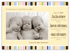 Sweet Stripes B&G Triplets Photo Birth Announcement