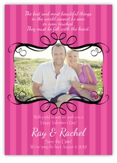 Swirl Photo Frame on Stripes Valentine�s Day Card