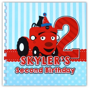 Tec the Tractor First Birthday Memory Book & Guestbook