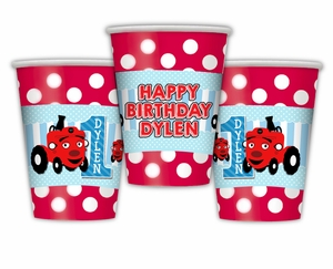 Tec the Tractor Personalized Party Cups
