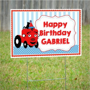 Tec the Tractor Personalized Party Yard Sign