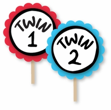 Thing 1 & Thing 2 Baby Shower Cupcake Topper Picks