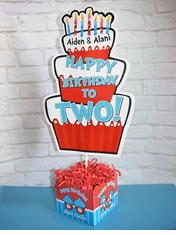 Thing 1 2 Cupcakes Birthday Party Large Personalized Table Centerpiece Seussy Cake