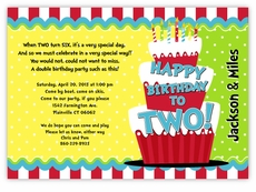 Thing 1 2 Dr Seuss Cake Twins Birthday Invitation