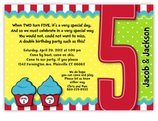 Thing 1 2 Dr Seuss Cupcakes Twins Fifth Birthday Invitation