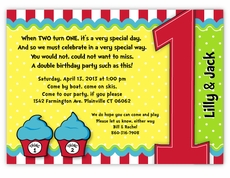 Thing 1 2 Dr Seuss Cupcakes Twins First Birthday Invitation