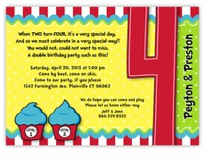 Thing 1 2 Dr Seuss Cupcakes Twins Fourth Birthday Invitation