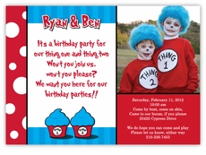 Thing 1 2 Dr Seuss Look Twins Photo Birthday Invitation