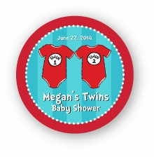 """Twin 1 & Twin 2 Onesies Twins Baby Shower 2.25"""" Stickers"""