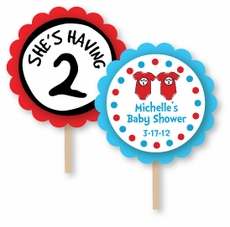 Thing 1 & Thing 2 Twins Baby Shower Cupcake Topper Picks