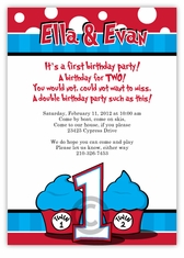 Thing 1 2 Twins FIRST Birthday Invitation
