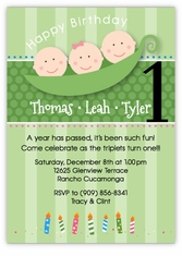 Three Peas in a Pod G&B Triplets Birthday Invitation