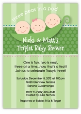 Three Peas in a Pod Girl-Boy Triplets Baby Shower Invitation