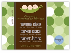 Three Peas in a Pod Triplet Boy Birth Announcement