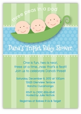 Three Peas in a Pod Triplet Boys Baby Shower Invitation