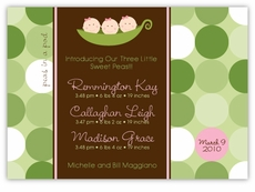 Three Peas in a Pod Triplet Girl Birth Announcement