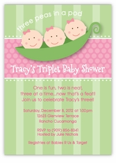 Three Peas in a Pod Triplet Girls Baby Shower Invitation