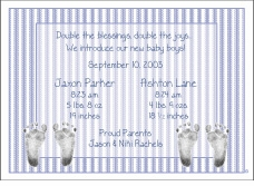 Ticking Stripes Boy Boy Birth Announcement