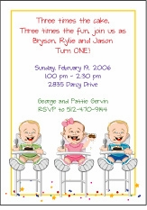 Triplets Cartoon Kids-1 B&G Birthday Invitation