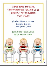 Triplets Cartoon Kids-1 BBB Birthday Invitation