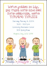 Triplets Cartoon Kids-3 B&G Birthday Invitation