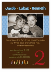Triplets Chocolate Photo BBB Birthday Invitation