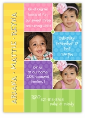 Triplets Collage Photo B&G Birthday Invitation