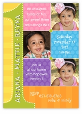 Triplets First Birthday Photo Collage B&G Birthday Invitation