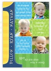 Triplets First Birthday Photo Collage BBB Birthday Invitation