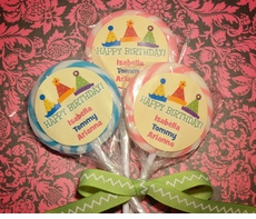 Triplets Party Hats Birthday<br>Personalized Lollipop Favors