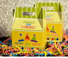 Triplets Party Hats<br>Personalized Gable Box Favor