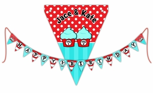 Twin 1 Twin 2 Cupcakes Personalized Happy Birthday Pennant Banner