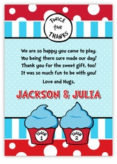 Twin 1 Twin 2 Cupcakes Twin Boys Pre-Printed Thank You Note Card