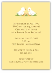 Twin Boy Ducklings Girl Boy or Gender Neutral Baby Shower Invitation