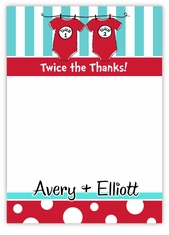 Twin Boys Dr. Seuss Onesies Baby Shower Thank You Note Card