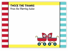 Twin Boys Dr. Seuss Prams Baby Shower Thank You Note Card