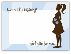 Twin Boys Mod Momma Baby Shower Thank You Note Card